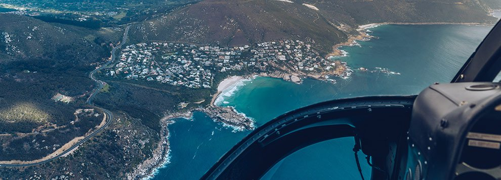 Aerial view of Cape Town from a helicopter